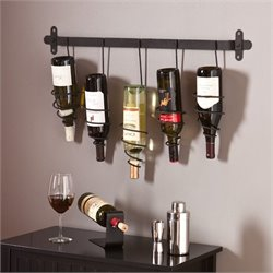 Southern Enterprises Almeria Wall Mount Wine Rack in Wrought Iron