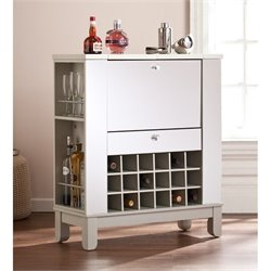 Southern Enterprises Mirage Mirrored Wine and Bar Cabinet in Silver