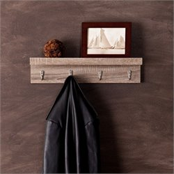 Southern Enterprises Argo Wall Mount Shelf with Hooks in Dark Oak
