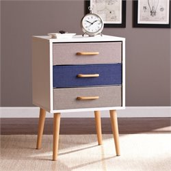 Southern Enterprises Maydell 3-Drawer Storage End Table in White