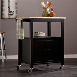 Southern Enterprises Kenner Kitchen Cart in Black