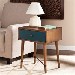Southern Enterprises Norwich Accent Table in Dusty Oak and Blue