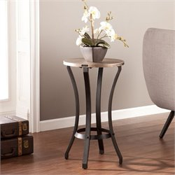 Southern Enterprises Libson Round Accent Table in Blackwashed Gold