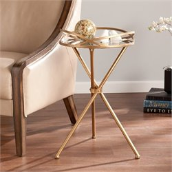 Southern Enterprises Leslie Metal Mirrored Accent Table in Bronze