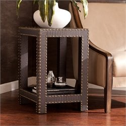 Southern Enterprises Reptilian Nailhead Accent Table in Brown