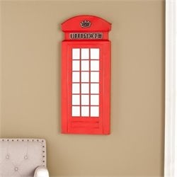 Southern Enterprises Edmond Phone Booth Wall Mirror in Matte Red