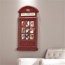 Southern Enterprises Edmond Phone Booth Wall Mount Photo Frame in Red