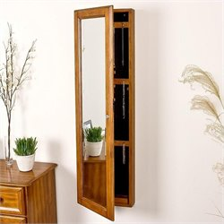 Southern Enterprises Sophia Wall-Mount Jewelry Mirror in Plantation Oak