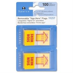 Sparco Pop-up Sign Here Flags in Dispenser (Set of 100)