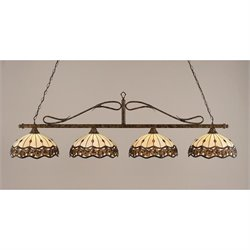 Toltec Scroll 4 Light Bar in Bronze with 16
