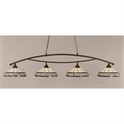 Toltec Bow 4 Light Bar in Bronze with 16