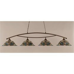 Toltec Bow 4 Light Bar in Bronze with 19