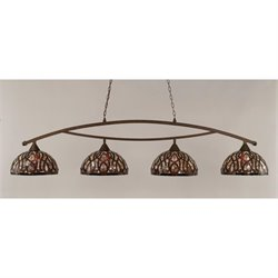 Toltec Bow 4 Light Bar in Bronze with 15