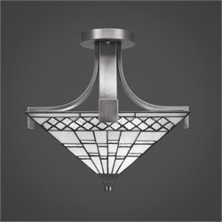 Toltec Apollo Semi-Flush with 2 Bulbs in Graphite with Square Pewter Tiffany Glass
