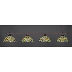 Toltec Square 4 Light Bar in Bronze with 16