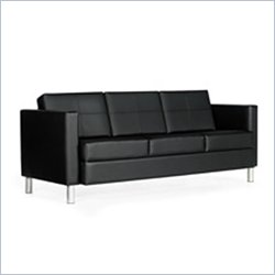 Global Citi Three Seater Leather Sofa in Black