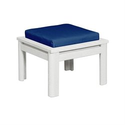 CR Plastic Stratford Square Patio Ottoman in White