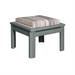 CR Plastic Stratford Square Patio Ottoman in Gray