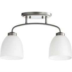 Quorum Reyes 2 Light Bowl Semi-Flush Mount in Classic Nickel