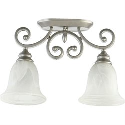 Quorum Bryant 2 Light Bowl Semi-Flush Mount in Classic Nickel