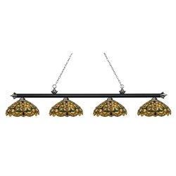 Riviera 4 Light Game Table Light, Multi-Coloured Tiffany Glass shades X-C14