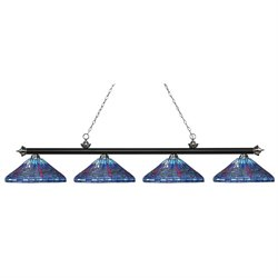 Riviera 4 Light Game Table Light, Multi-Coloured Tiffany Glass shades X16-1