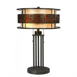 Z-Lite Oak Park 2 Light Table Lamp in Java bronze