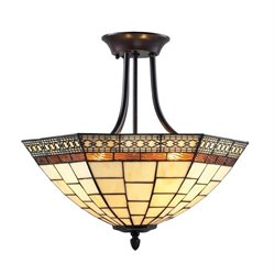 Z-Lite Prairie Garden 3 Light Semi-Flush Mount in Chestnut Bronze