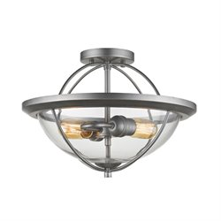 Z-Lite Persis 2 Light Semi Flush Mount in Clear and Old Silver