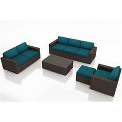 Harmonia Living Arden 5 Piece Patio Sofa Set in Spectrum Peacock