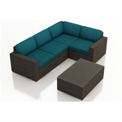 Harmonia Living Arden 5 Piece Patio Sectional Set in Spectrum Peacock