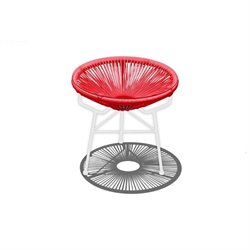 Harmonia Living Acapulco Patio End Table in Candy Apple and White