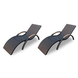 Harmonia Living Arbor Patio Chaise Lounge in Coffee Bean (Set of 2)