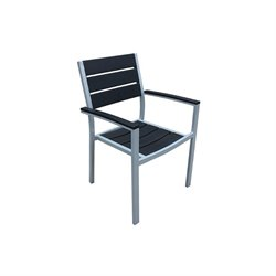Harmonia Living Brasserie Patio Dining Arm Chair in Silver and Black