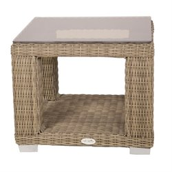 Patio Heaven Palisades Square Patio End Table in Gray