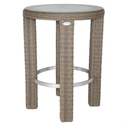 Patio Heaven Palisades Round Patio Pub Table in Gray