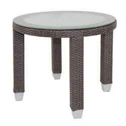 Patio Heaven Signature Round Patio End Table in Espresso