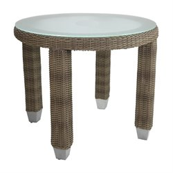 Patio Heaven Palisades Round Patio End Table in Gray
