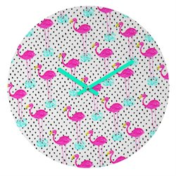 Deny Designs Bouffants and Broken Hearts Flamingos and Dots Clock