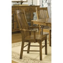 A-America Laurelhurst Slatback Dining Arm Chair in Rustic Oak