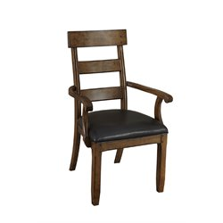 A-America Ozark Ladderback Dining Arm Chair in Warm Pecan