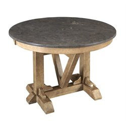 A-America West Valley Round Bluestone Dining Table in Rustic Wheat