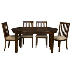A-America Westlake Oval Extendable Dining Table in Cherry Brown