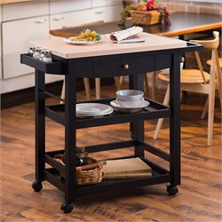 Furniture of America Reynold Kitchen Cart in Black