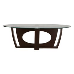 Furniture of America Kinley Oval Coffee Table in Matte Espresso