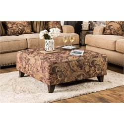 Furniture of America Tanner Square Upholstered Ottoman in Tan
