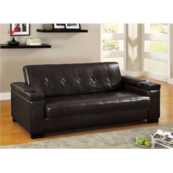 Furniture of America Cassia Leather Sleeper Sofa in Espresso