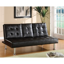 Furniture of America Eyan Leather Sleeper Sofa Bed in Black