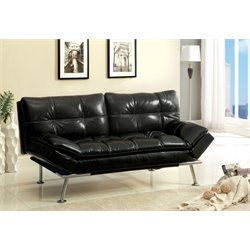 Furniture of America Floyd Leathere Sleeper Sofa Bed in Black