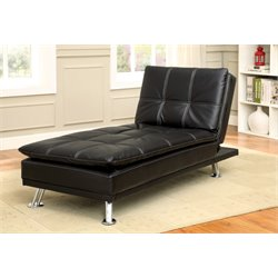 Furniture of America Ralston Tufted Leather Chaise Lounge in Black